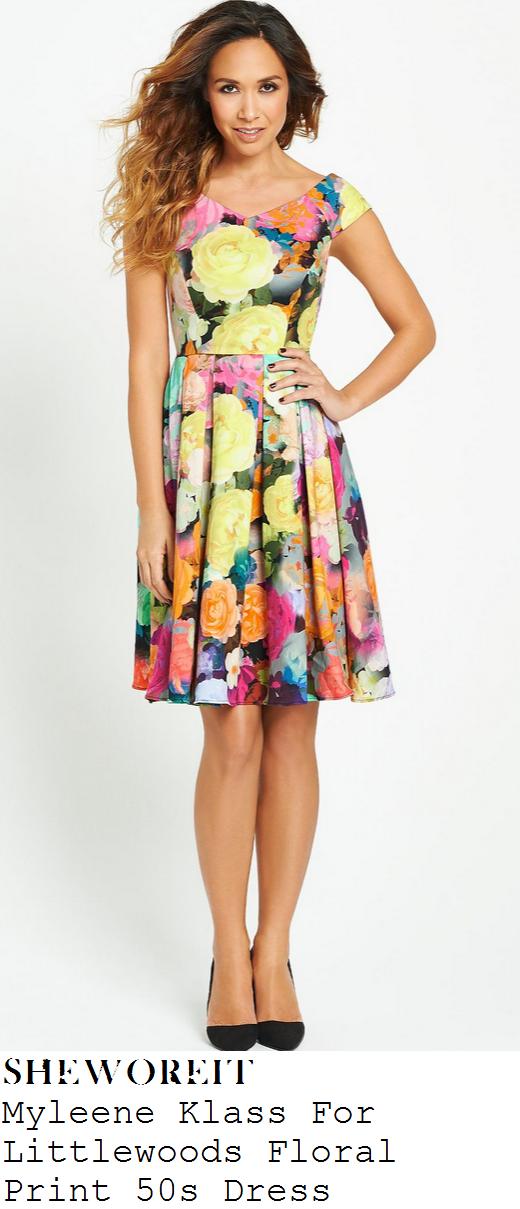 myleene-klass-bright-multicoloured-floral-print-pleated-dress