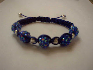 Blue Resin rhinestone with siver corrugated iron beads shamballa bracelet