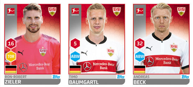 Sticker 244 TOPPS Bundesliga 2017//2018 Ron-Robert Zieler