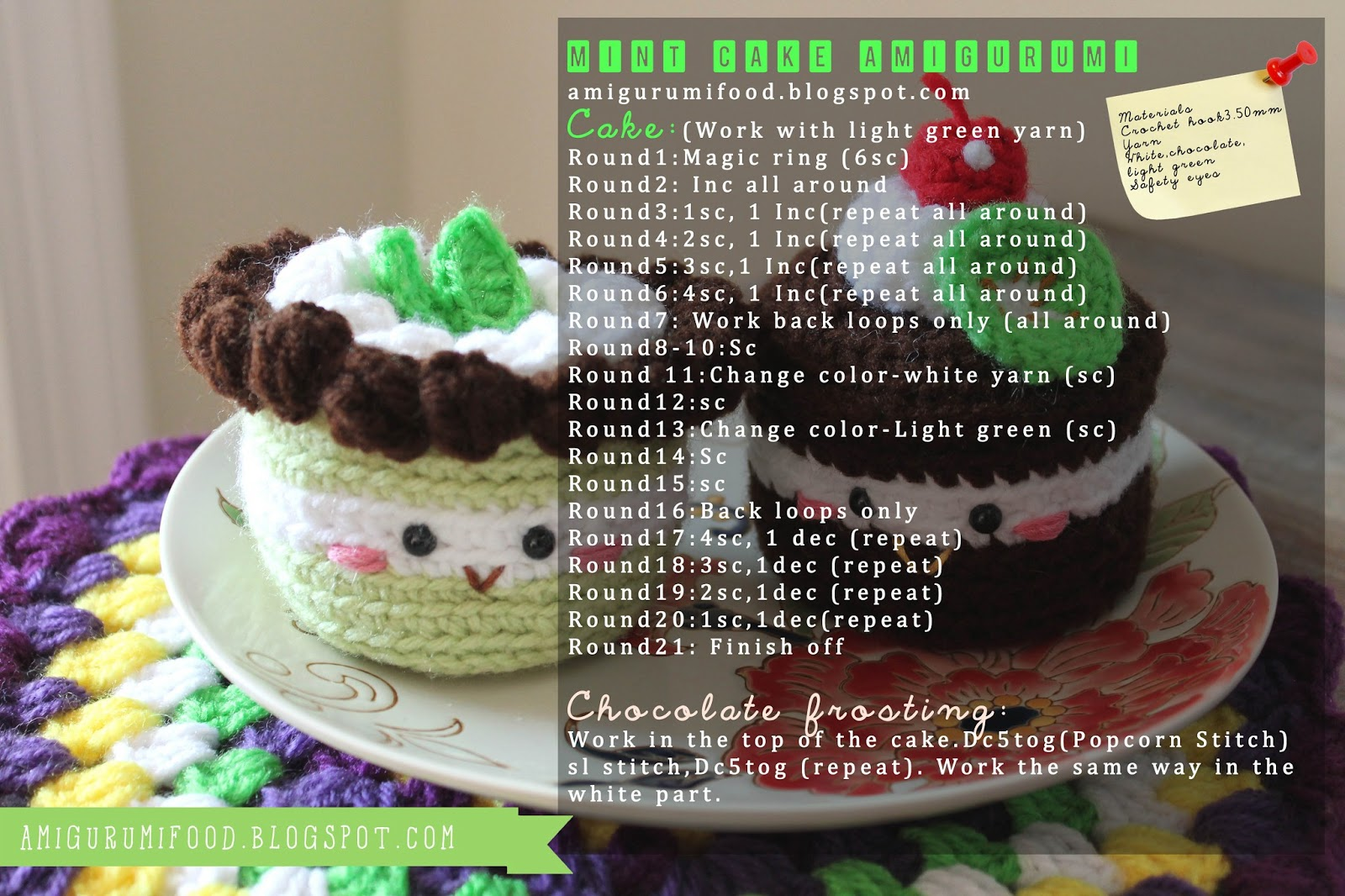 Amigurumi Harry Potter Free Pattern : Amigurumi Food: Mint cake Amigurumi {Free Pattern}