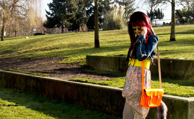 Mirror Aviators from Blue ruby, Mirror Aviators, retro denim crop jacket from guess, retro denim crop top, denim crop jacket, floral dress from value village, blue tights from urban outfitters, floral dress, blue tights, brown shoes, cambridge satchel company orange flouro purse, bright yellow belt, spring outfit, spring time, thrift finds, DIY hemming, Thrift dress