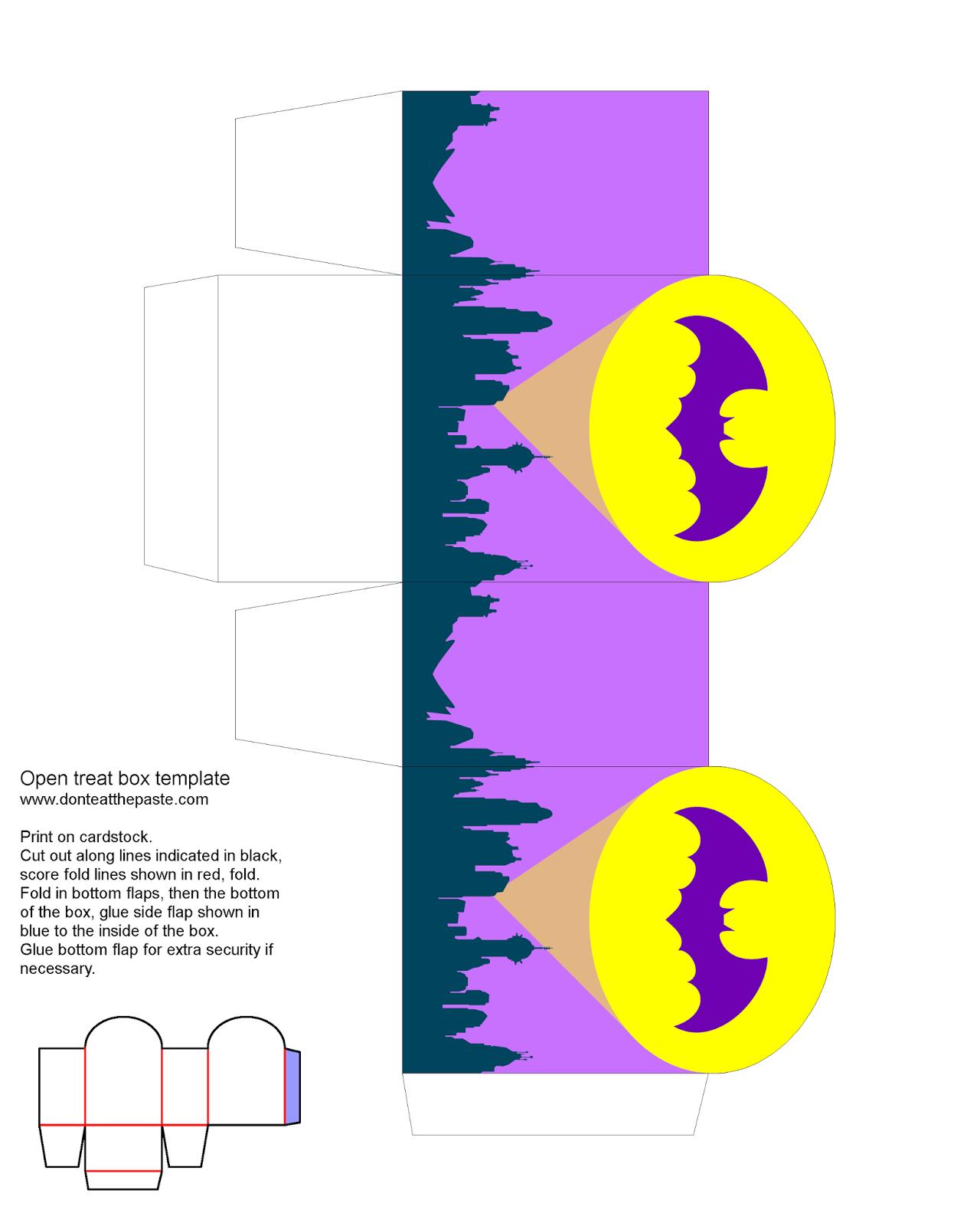 Printable bat signal treat box