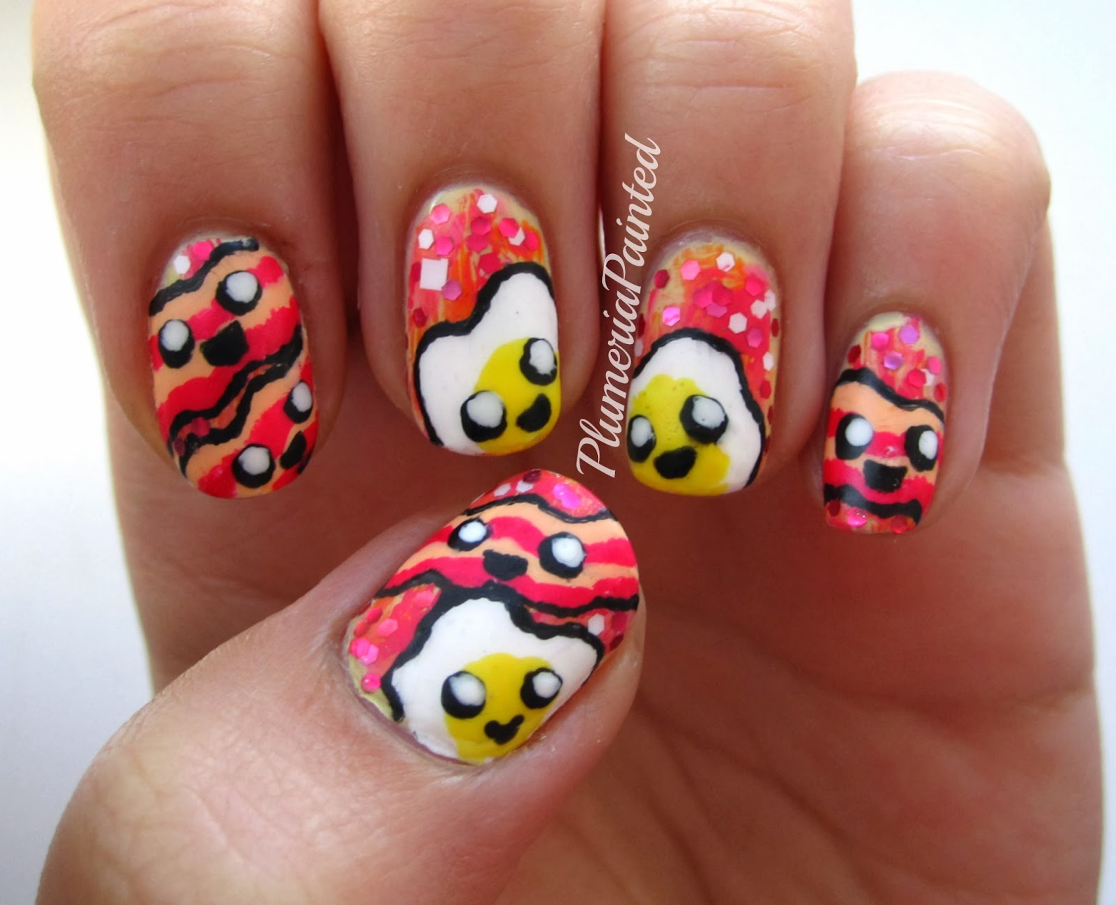 Plumeriapainted eggs bacon nail art regular food nail art should come back its the bayest and this egg and bacon design is pretty funky me gusta mucho my spanish is bad putting it out prinsesfo Gallery