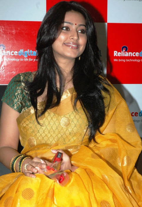 sneha in yellow saree from india cute stills