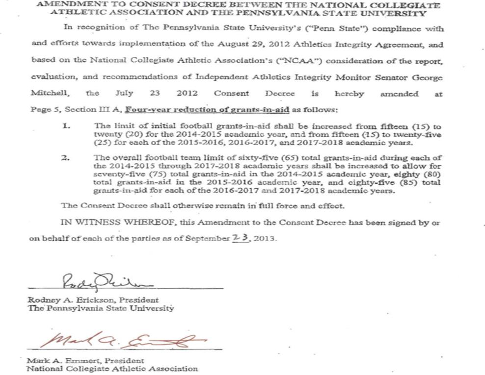 Second Mile Sandusky Scandal NCAA Half Measure on Sanctions Falls – Sample National Letter of Intent
