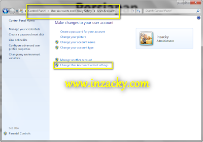 Menonaktifkan UAC Windows 7 atau 8 - User Account Control