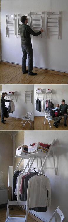 closet improvisado como fazer cadeiras usadas lavanderia cabideiro