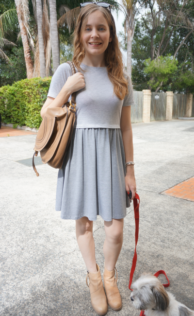 Asos grey neutral skater dress chloe marcie hobo bag acne pistol boots summer