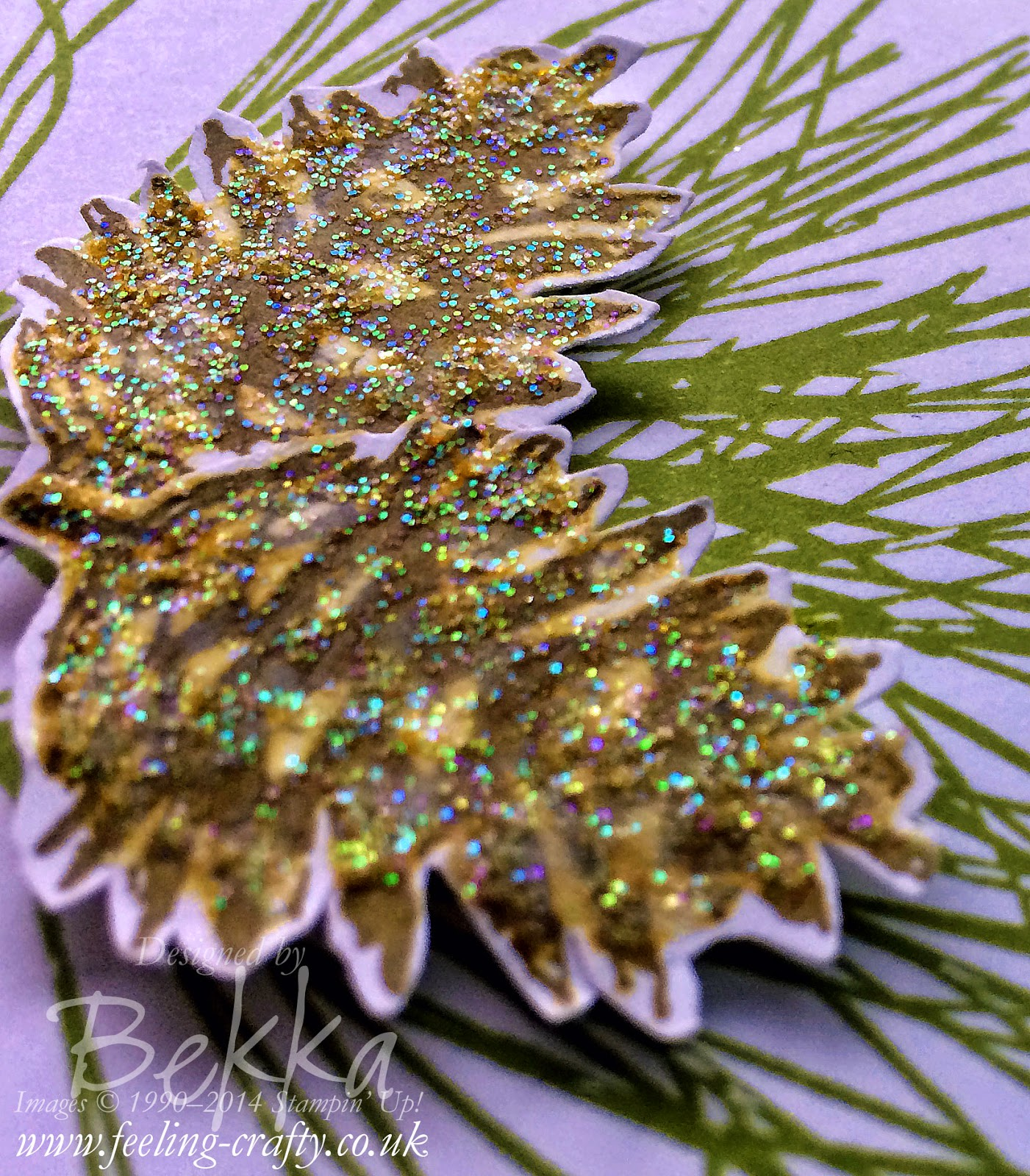 Ornamental Pine Christmas Card by Bekka - check her blog for lots of great ideas