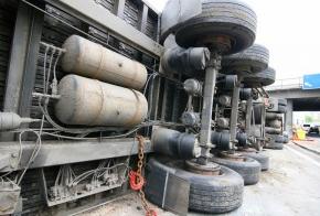 Overturned Semi Truck truckers