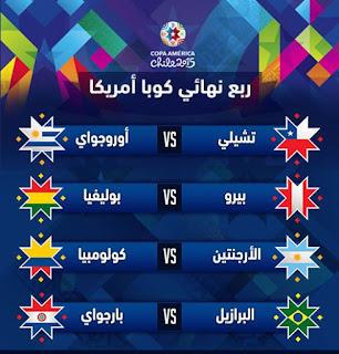 جدول نقل ومواعيد مباريات دور الـ 8 + تعرف على الفرق التى صعدت لدور الثمانية لبطولة كوبا امريكا 2015
