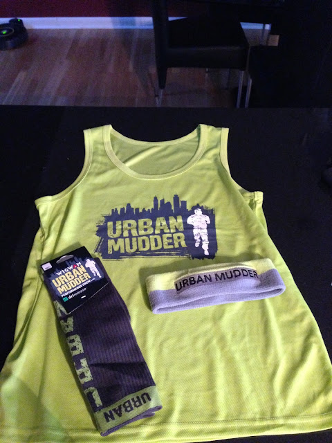 urban mudder race swag shirt socks headband