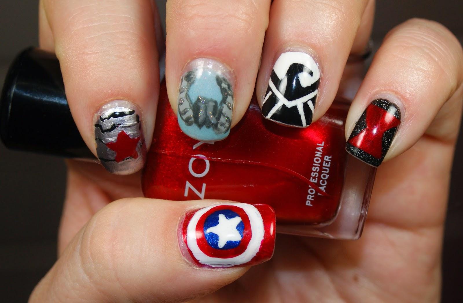 Princess Polish Captain America The Winter Solr Nail Art