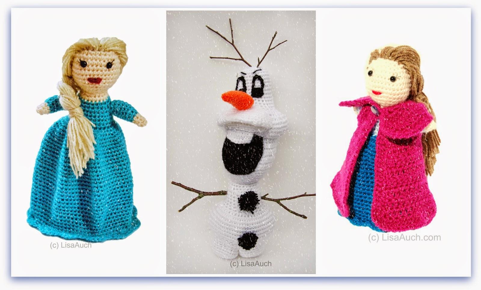 disney frozeen crochet dolls, ana, elsa, olaf #fanart