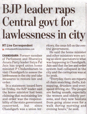 BJP leader Satya Pal Jain raps Central govt for lawlessness in city