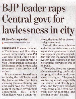 BJP leader Satya Pal Jain raps Central govt for lawlessness in city