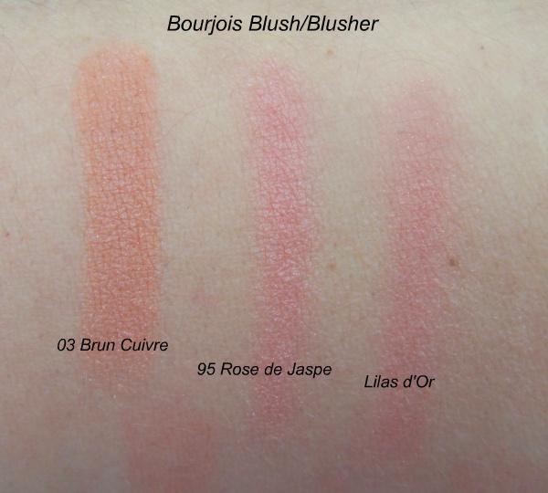 Bourjois blush swatches: Brun Cuivre, Rose de Jaspe, Lilas d'Or