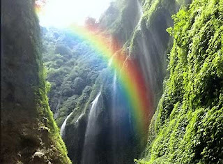 Rainbow in Madakaripura Waterfall