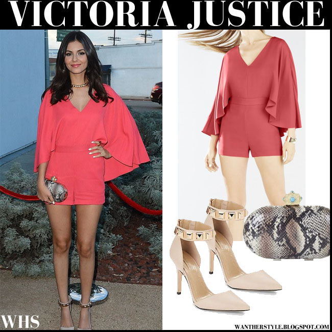 Victoria Justice in coral cape sleeves short romper BCBG IDINA what she wore august 6 front row
