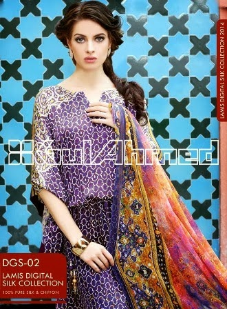 Gul Ahmed Digital Chiffon Silk Collection 2014