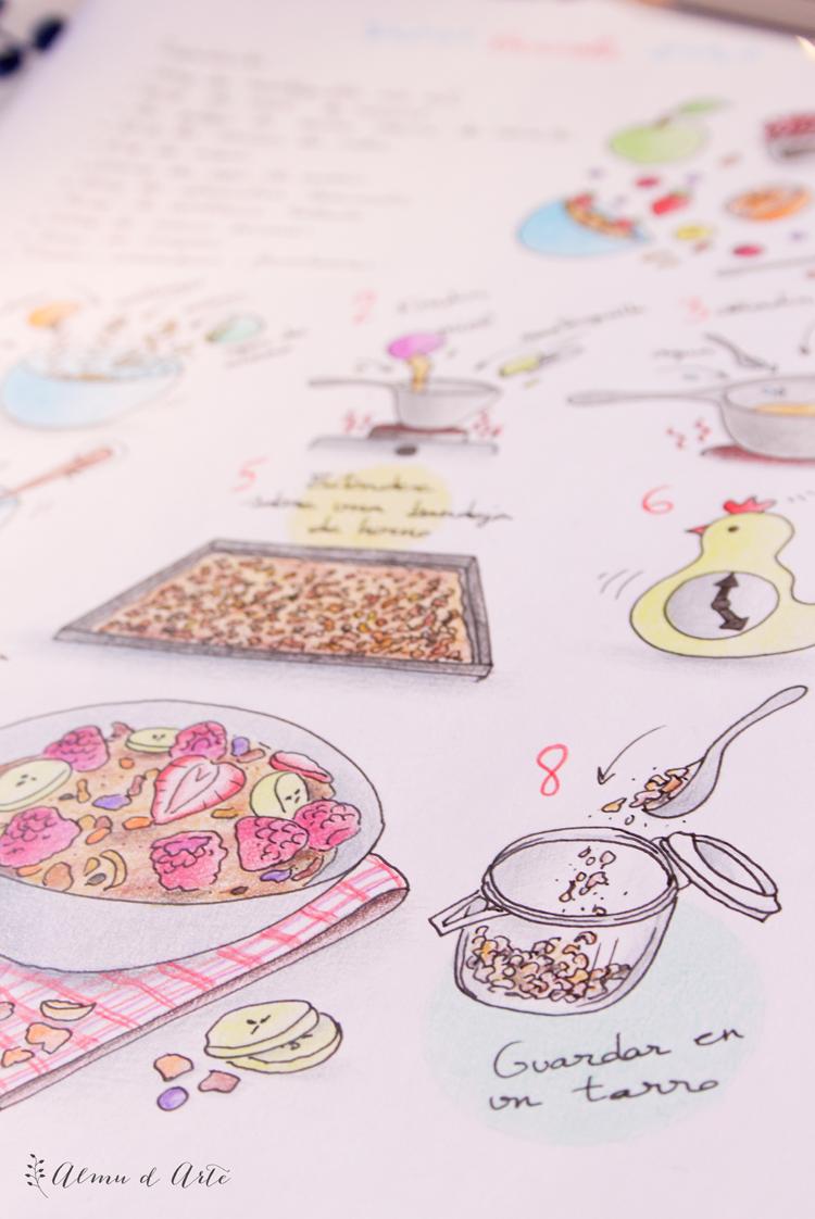 receta ilustrada de granola y frutos rojos