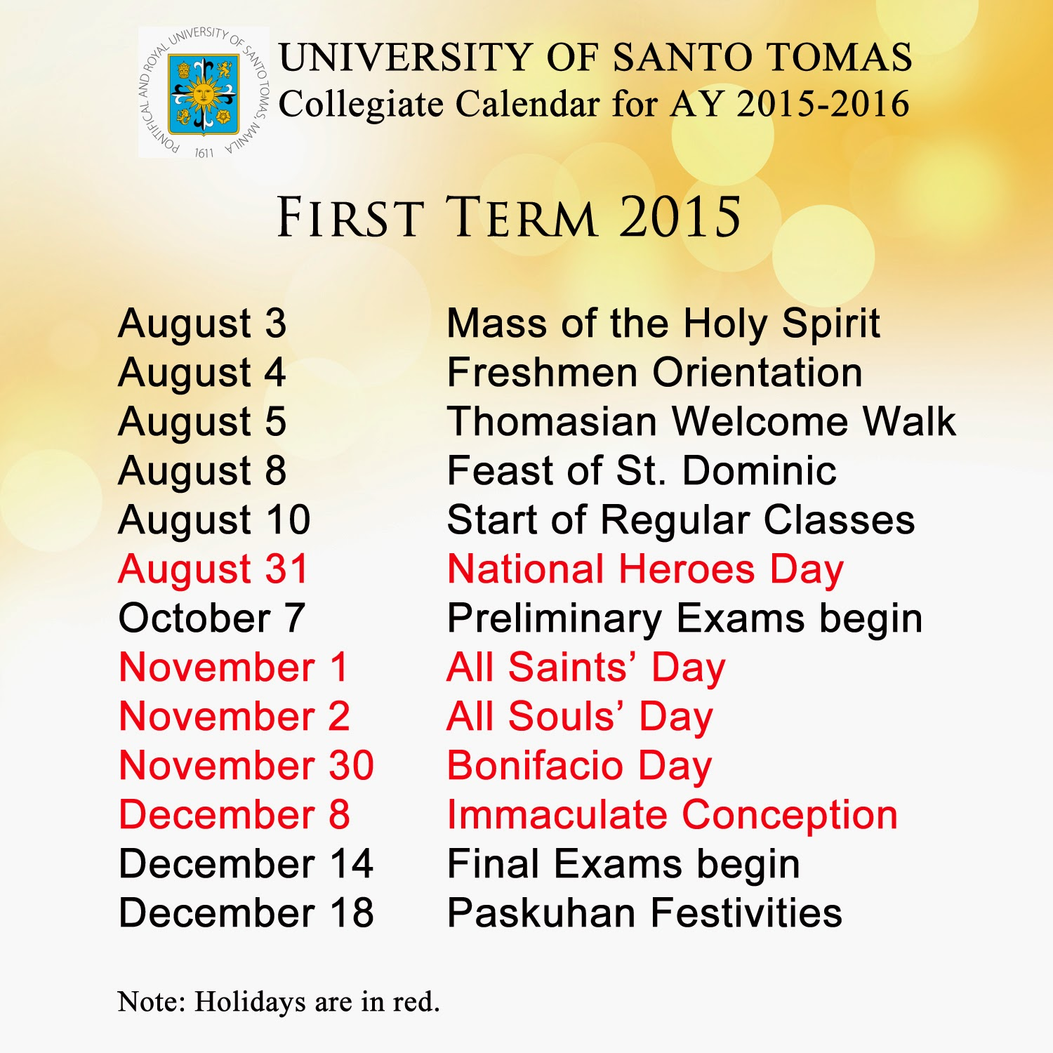 Collegiate Calendar for AY 2015-2016