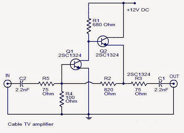 easy circuit lab  cable tv amplifier
