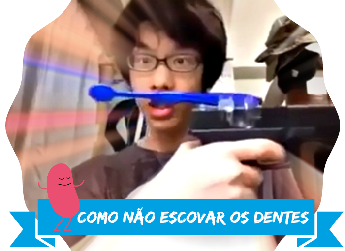 Escovando os dentes com uma arma