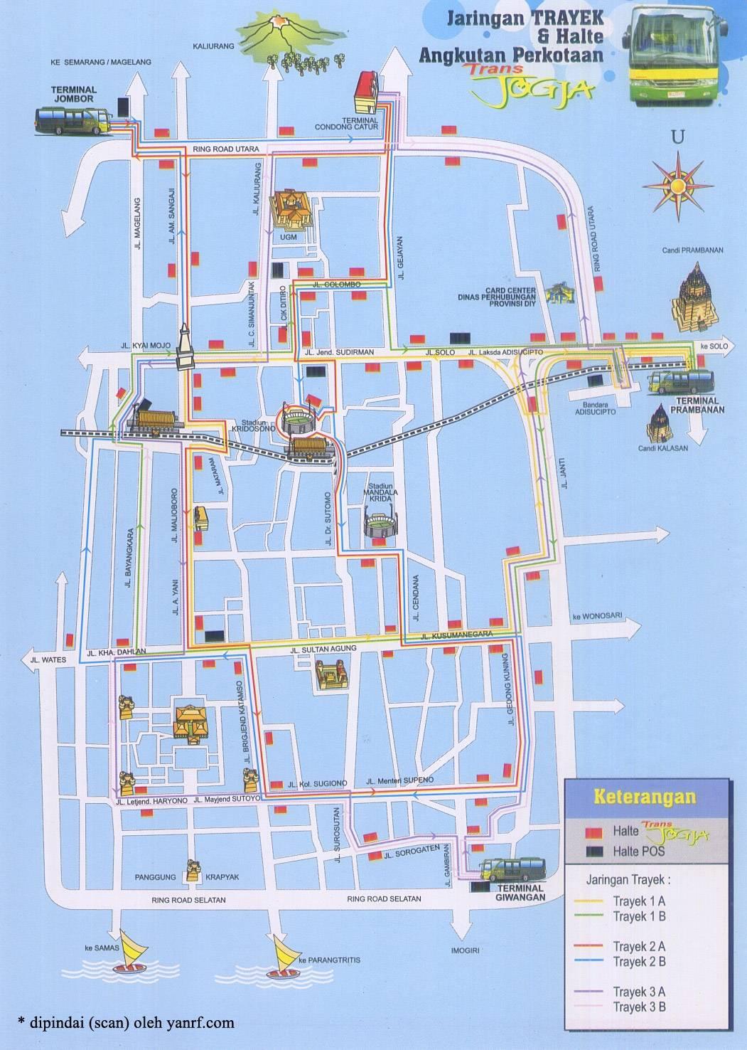 Peta Rute trayek bis Trans Jogja | peta yogyakarta - panduan jalan-jalan ke jogja