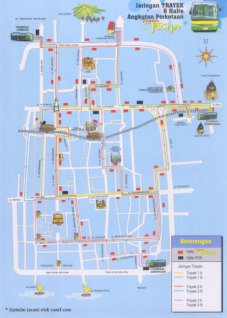 Peta Rute trayek bis Trans Jogja