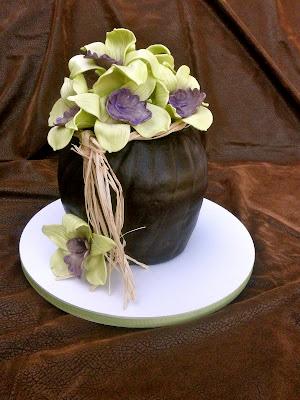 Sweet Ts Cake Design: Sculpted Orchid Flower Vase Birthday Cake
