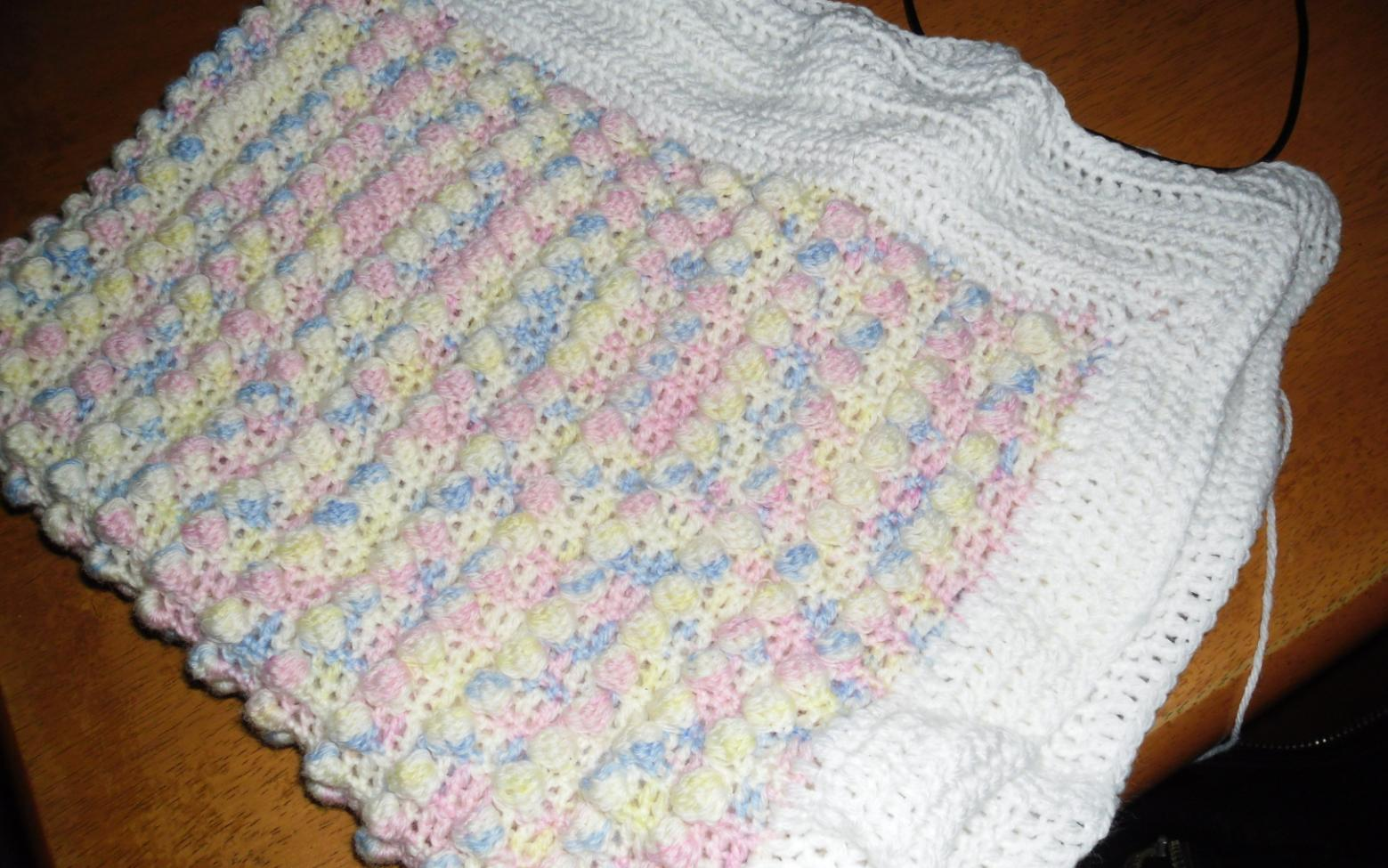 Free Crochet Popcorn Baby Blanket Pattern : Blooming Lovely: Finished Object - Popcorn Baby Blanket