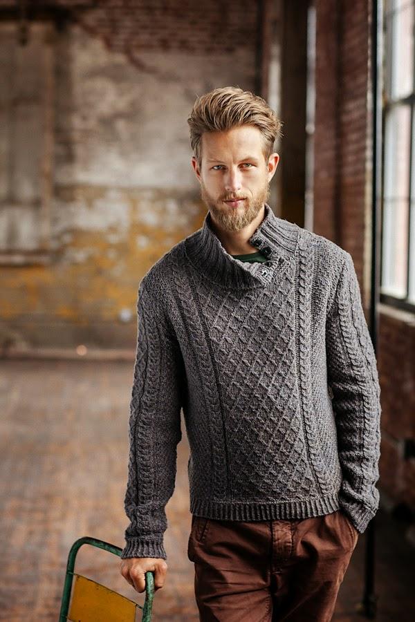 meski sweter na drutach