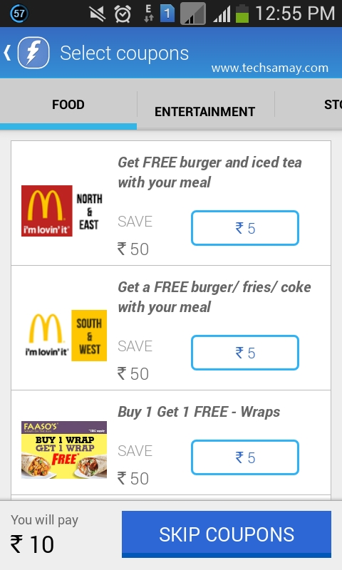Freecharge promo coupons