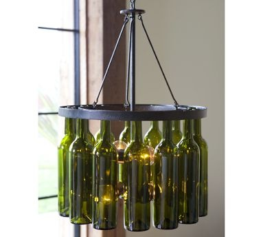 Rustic ventures wine bottle lighting for How to make your own wine bottle chandelier
