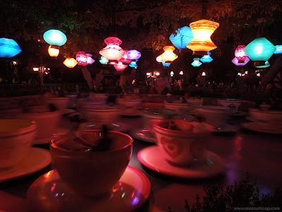 Mad Tea Party Disneyland Teacups night spinning lanterns