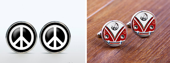 Hippie groom cufflinks, alternative cufflinks, gemelli alternativi, matrimonio alternativo, alternative wedding