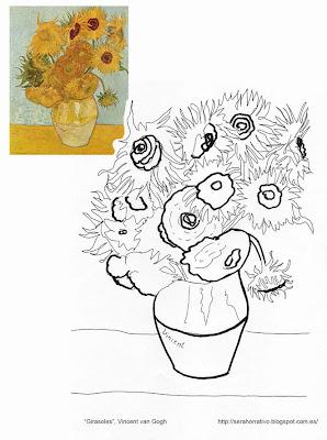 dibujo colorear girasoles van Gogh