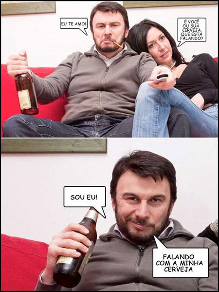 Homem romântico e a cerveja