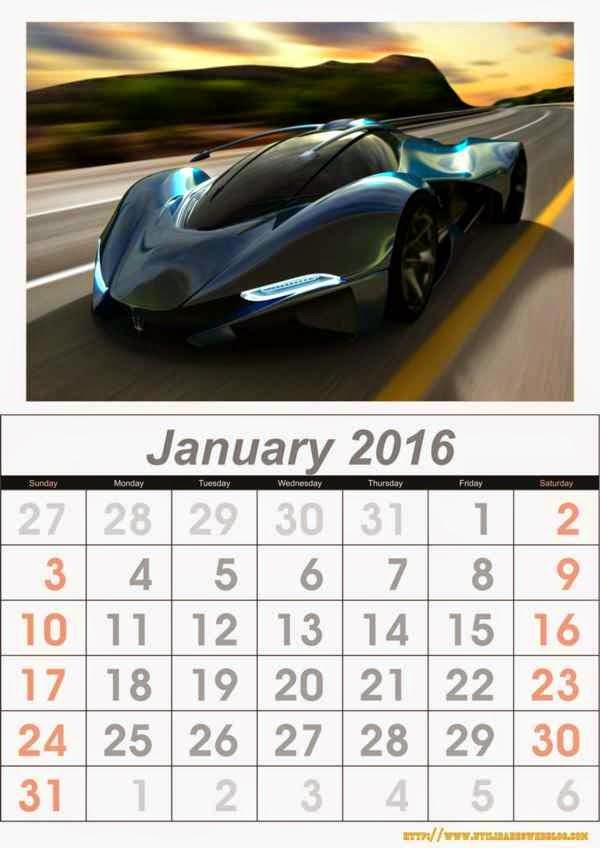 calendario de autos mes de enero 2016 para imprimir