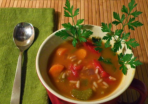 Cup of Pepperpot Soup with Parsley Sprigs