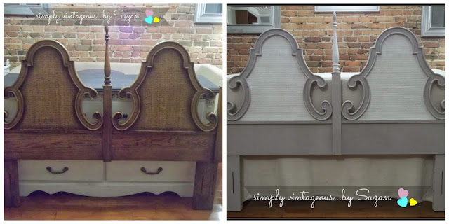 Headboard Makeover - Annie Sloan Paris Grey and Pure White