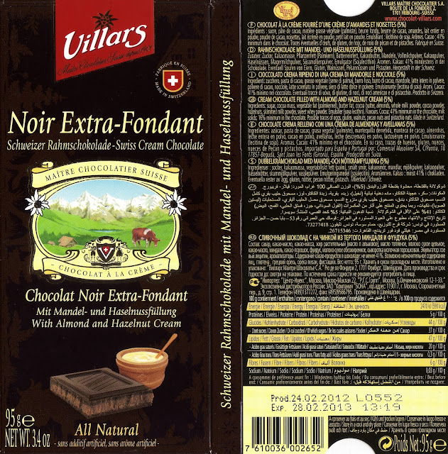 tablette de chocolat noir fourré villars noir extra fondant