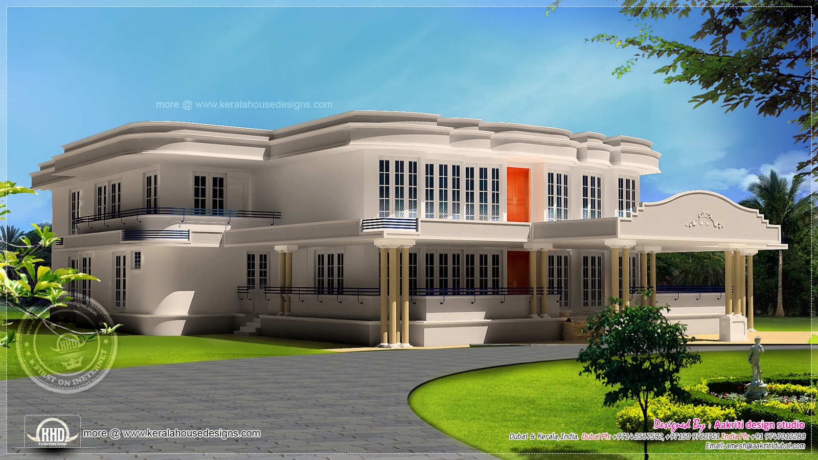 New luxury villa exterior in 3450 kerala home for Luxury house exterior designs