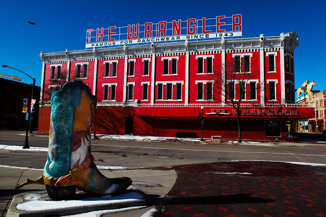 Big boot art in Cheyenne across from The Wrangler western store.