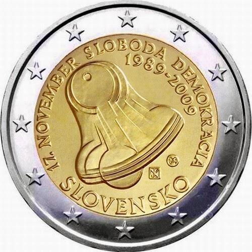 2 Euro Commemorative Coins Slovakia 2009 Velvet Revolution