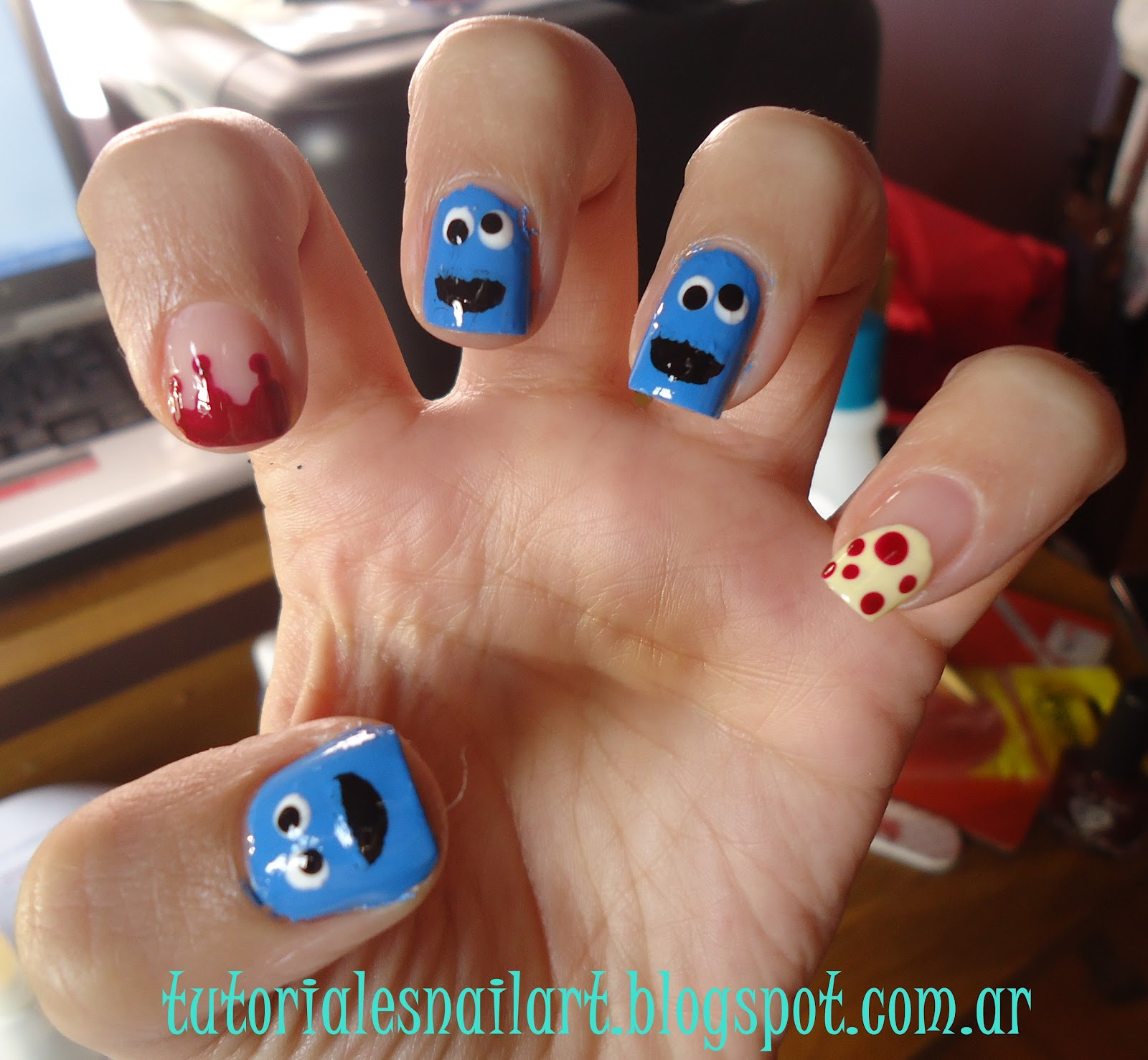 Tutoriales Nail Art: Semana Muppet, hoy: Uñas Monstruo Come Galletas