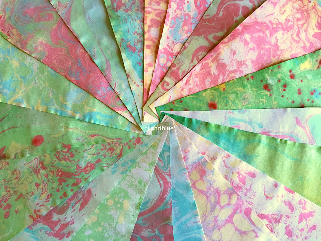 Paper Marbling with flour- no toxic chemicals or hard-to-find items, just craft paint, flour, and water!  from oil and blue blogl
