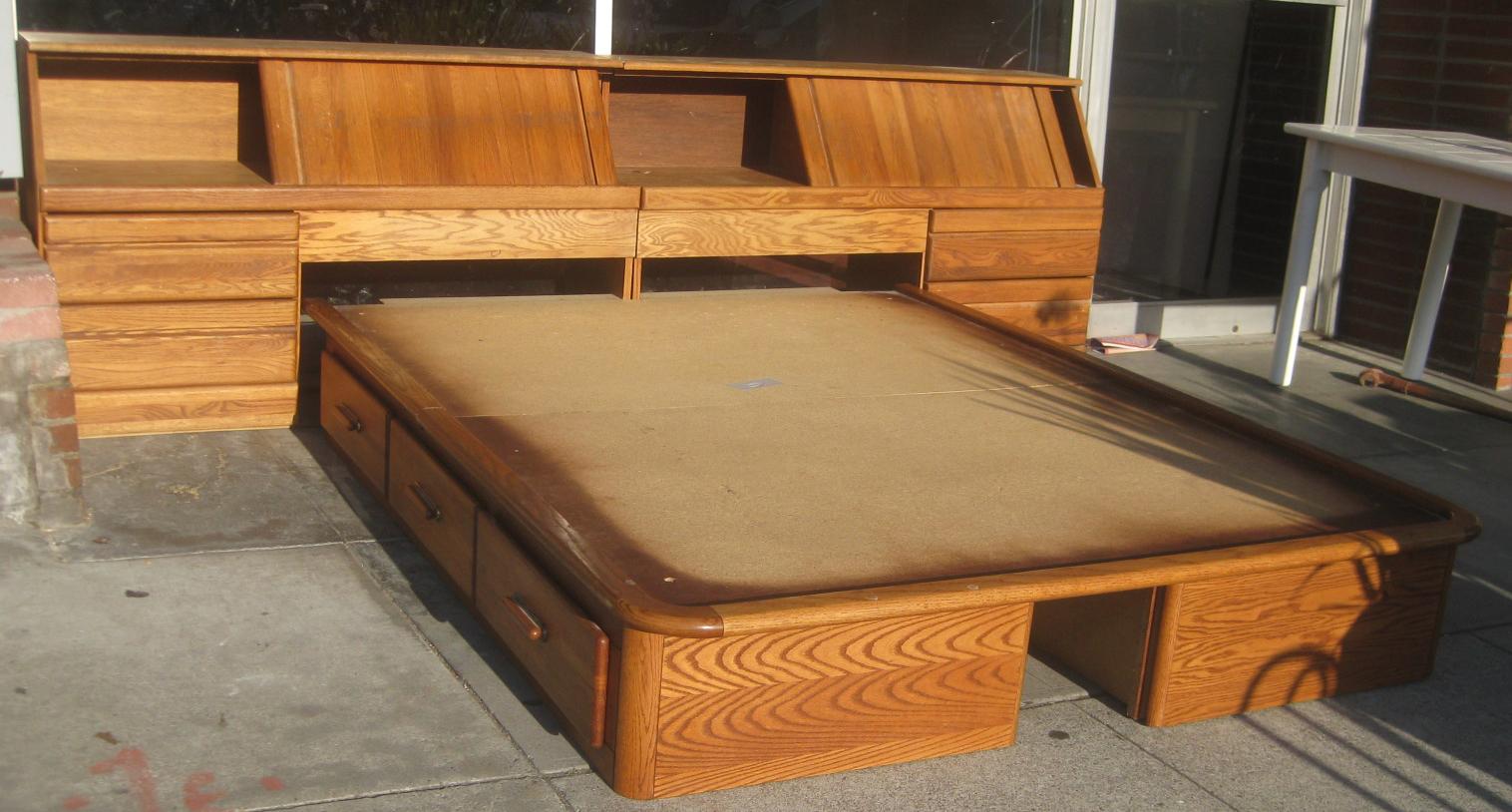 Uhuru furniture collectibles sold queen captain 39 s bed 60 - Captains bed queen plans ...