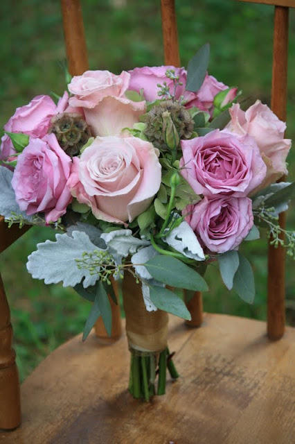 Antique hydrangea, Faith roses, purple spray roses, scabiosa pods, and silvery dusty miller Bridesmaid Bouquet - Splendid Stems Floral Designs